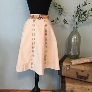 Anthropologie LITHE Embroidered skirt
